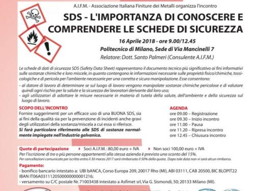 AIFM organizza l'incontro Schede di Sicurezza e Trattamenti Galvanici il 16 Aprile 2018 Politecnico Milano