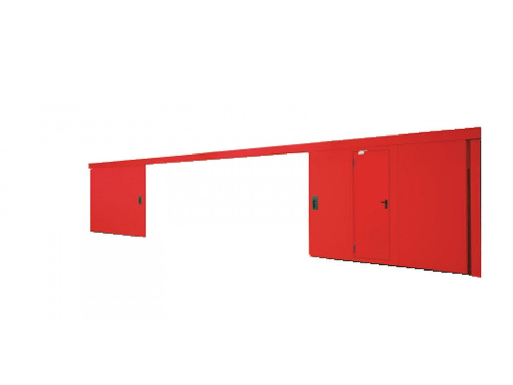Portone scorrevole tagliafuoco con porta pedonale REI 120