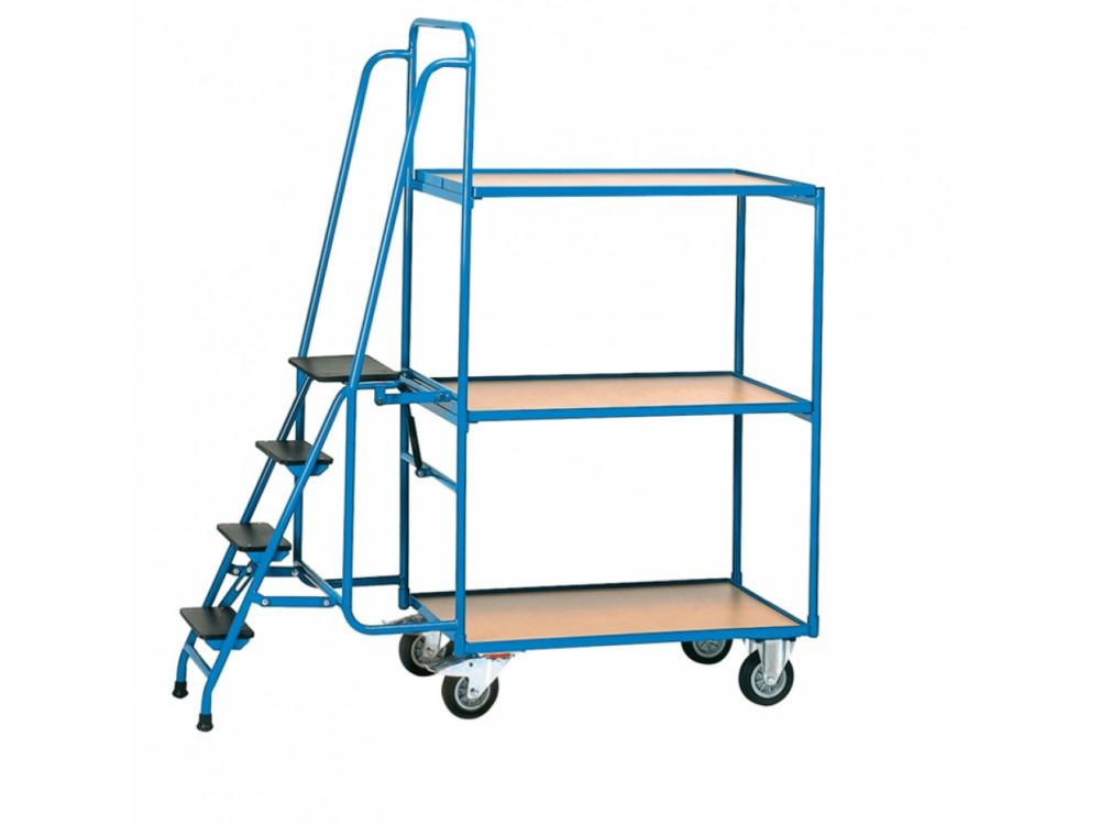 Carrello manuale in acciaio a ripiani per il trasporto di contenitori e merci