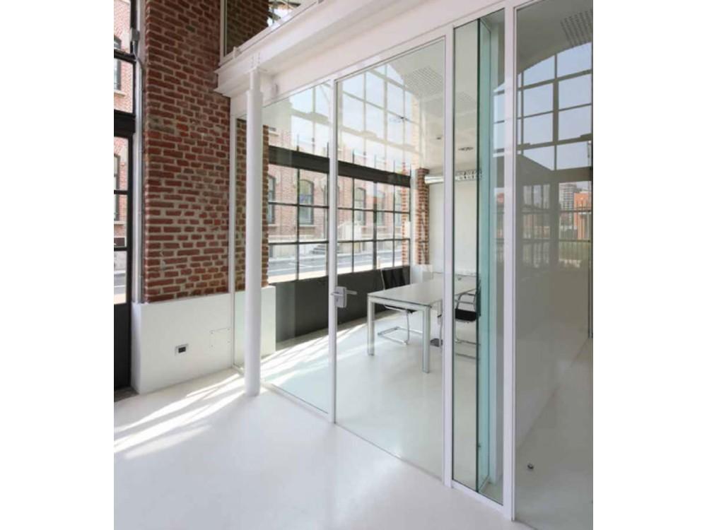 Porta vetrata anta in cristallo trasparente singolo vetro A
