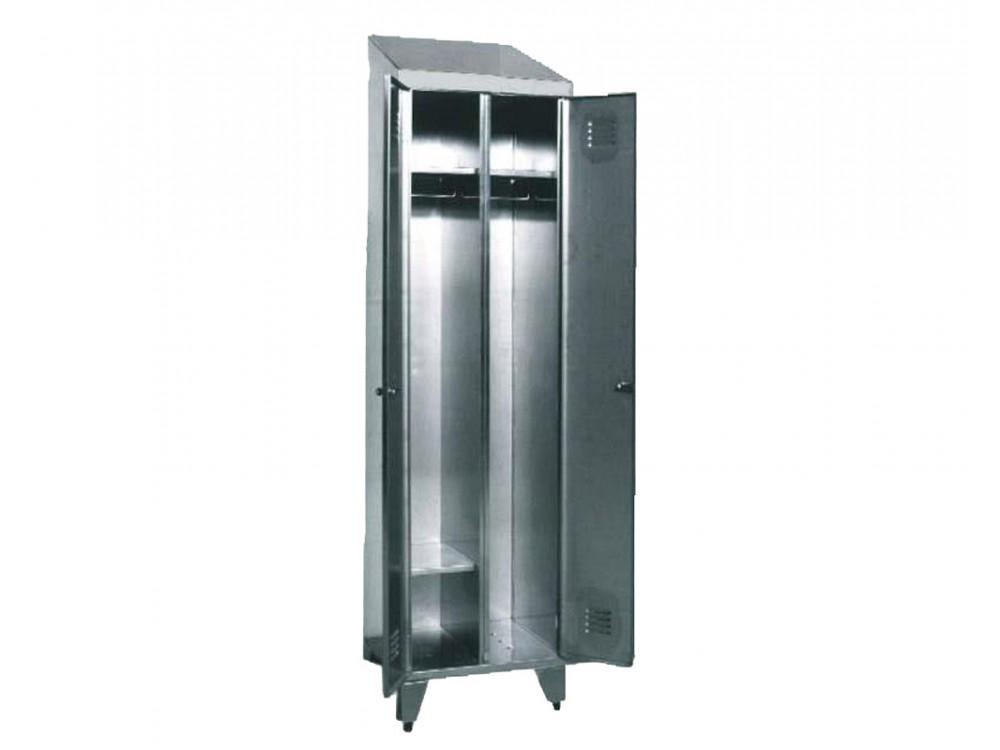 Armadio spogliatoio singolo in acciaio inox Aisi 304 con due porte.