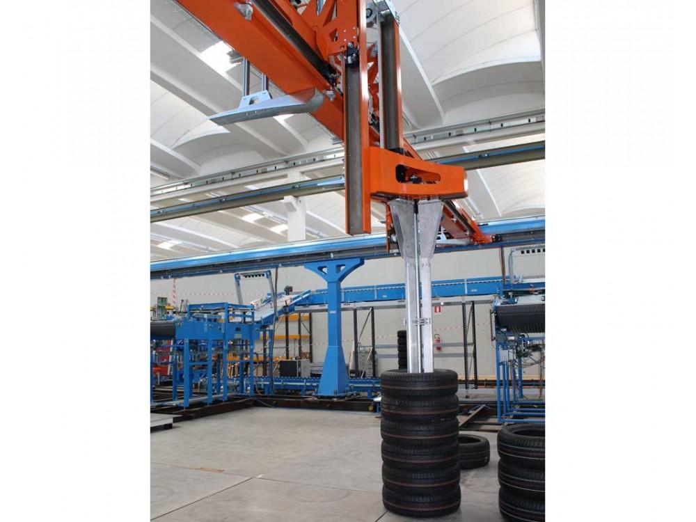 Robot di manipolazione cartesiano a tre assi per pneumatici Gantry