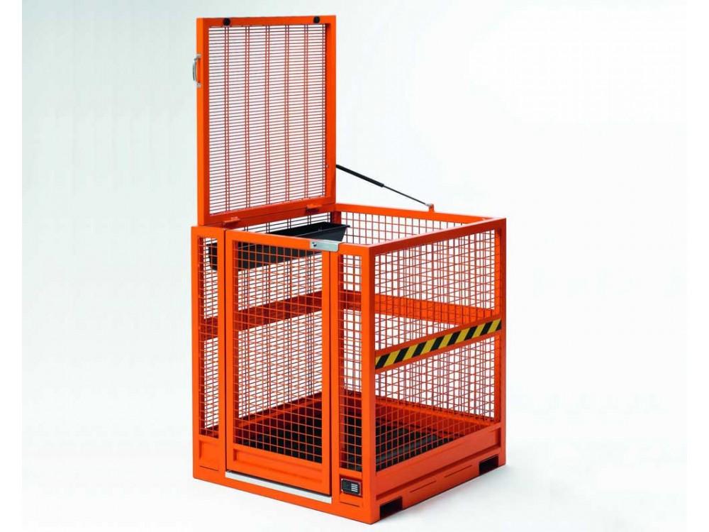 Contenitore in rete metallica portaoperatore per piattaforma manutenzione