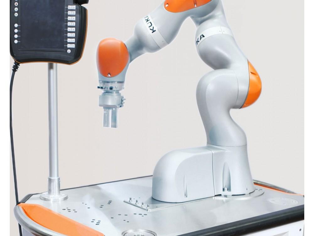 Piattaforma mobile con unità robot per il montaggio industriale