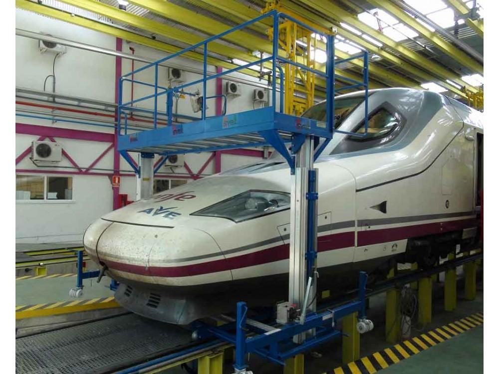Piattaforma di lavoro per manutenzione treni scorrevole su rotaia