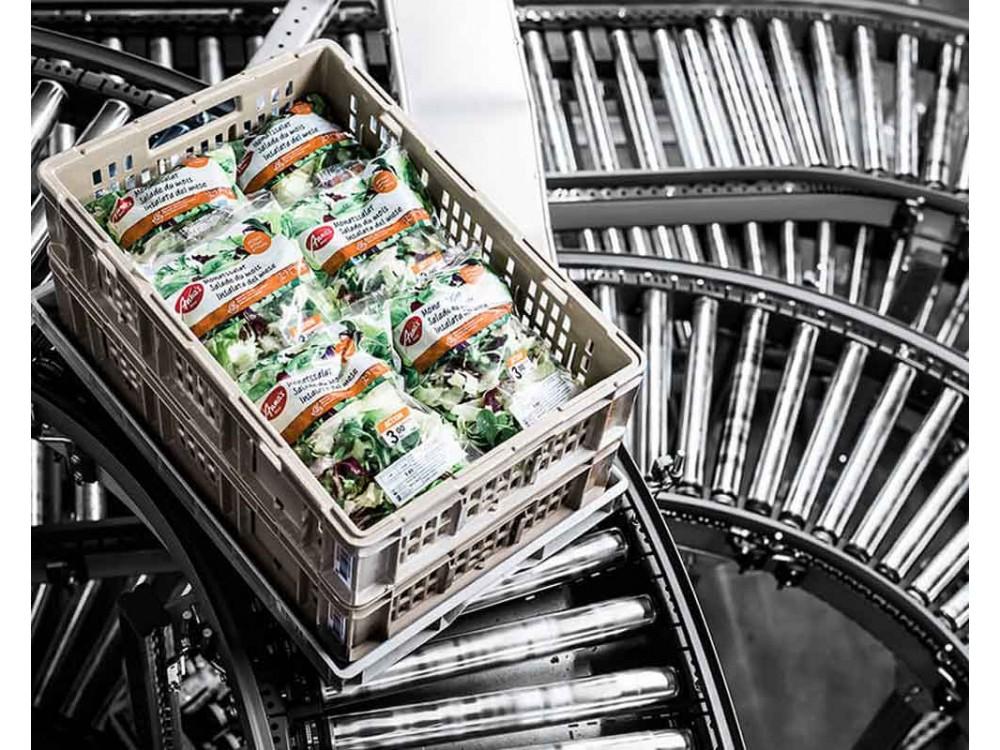 Nastro trasportatore per contenitori e cartoni
