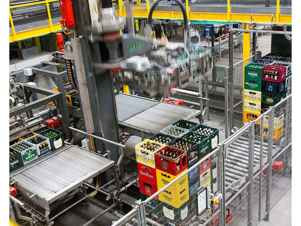 Depallettizzatore automatizzato per contenitori, scatole e cartoni