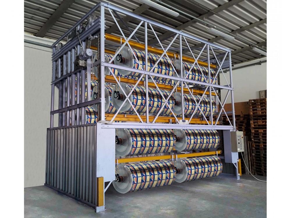 Magazzino verticale per bobine e subbi