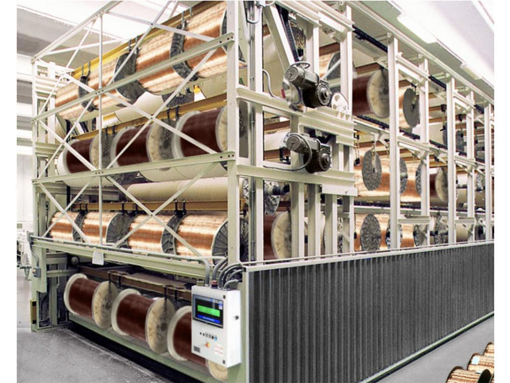 Magazzino verticale per bobine di cavo metallico