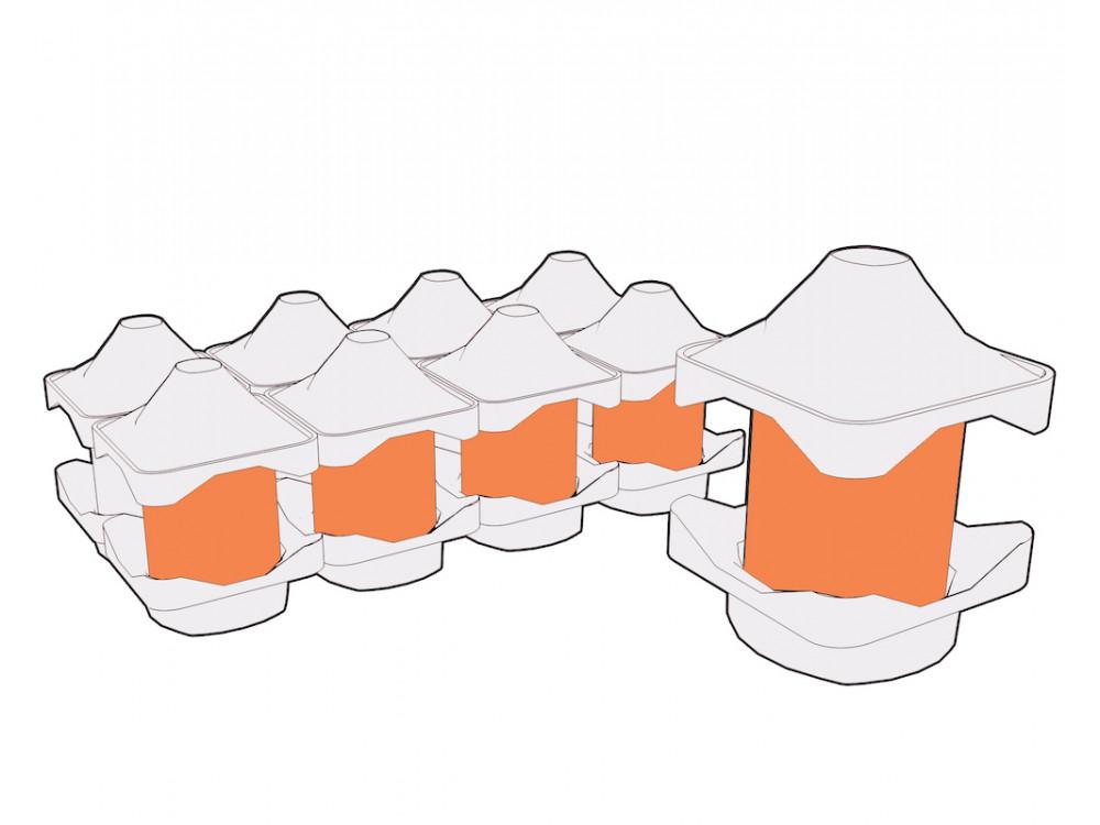 Gusci in polpa per contenitori di liquidi speciali