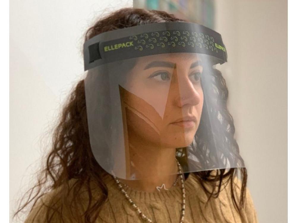 Maschera protettiva con visiera in plastica trasparente
