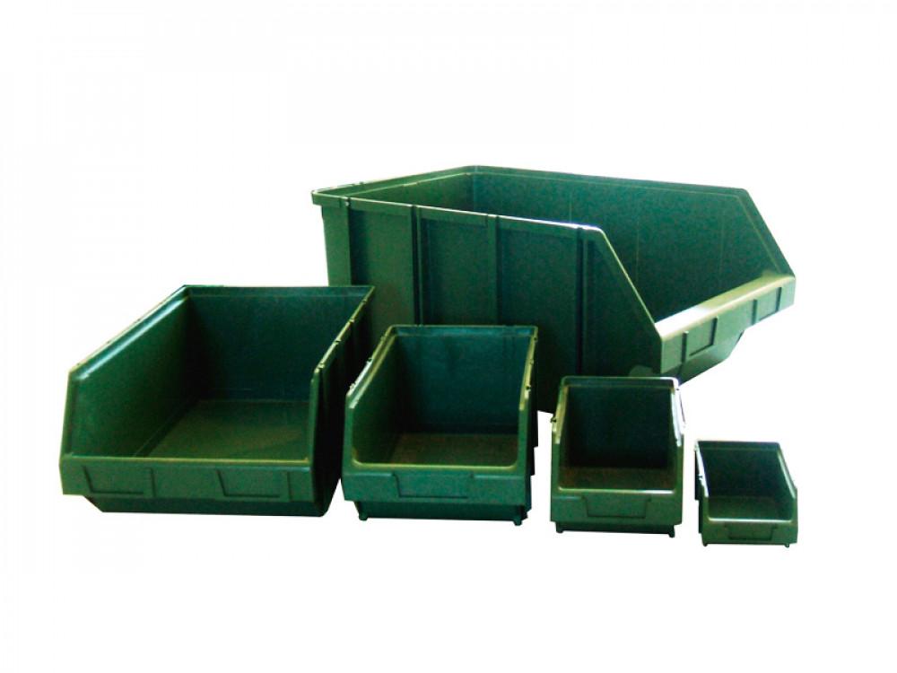Contenitori a bocca di lupo in plastica sovrapponibili e componibili serie K