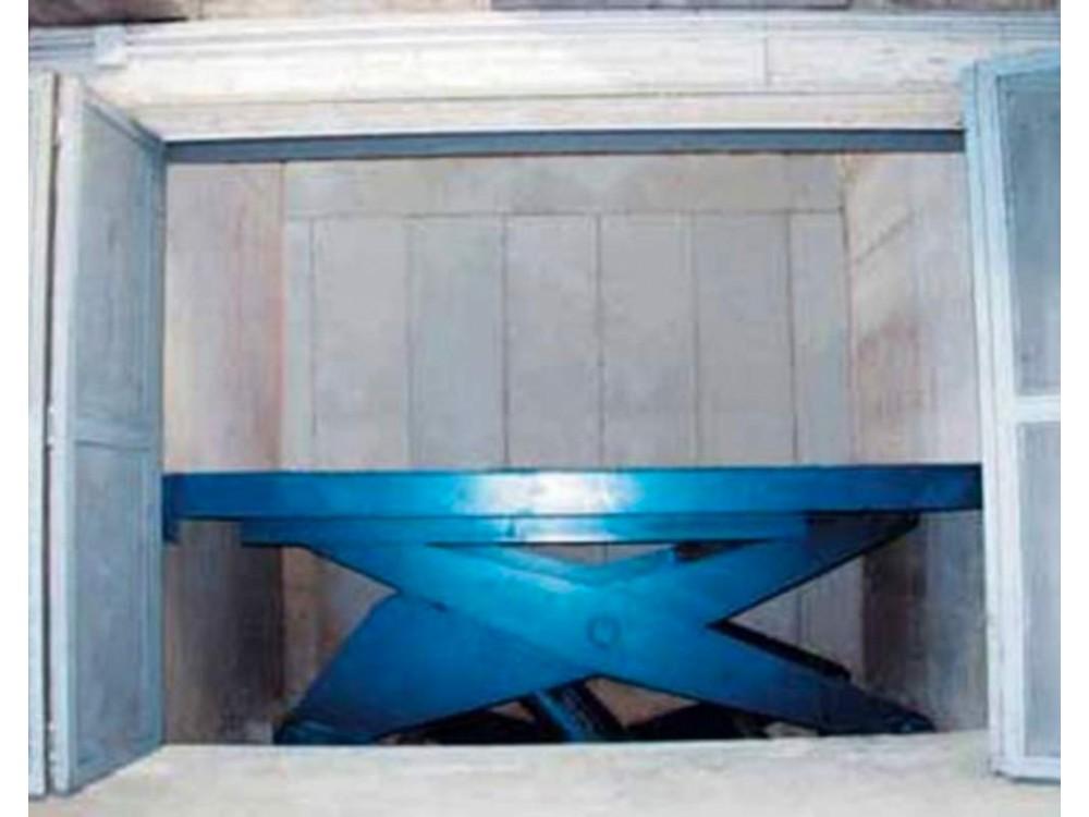 Tavole elevatrici a pantografo utilizzate per raccordare due piani