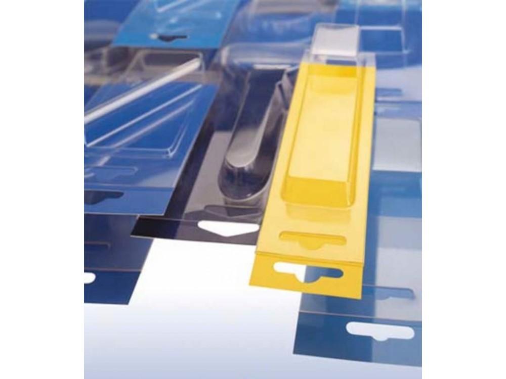 Blister per strumenti di misura con cartoncino sfilabile