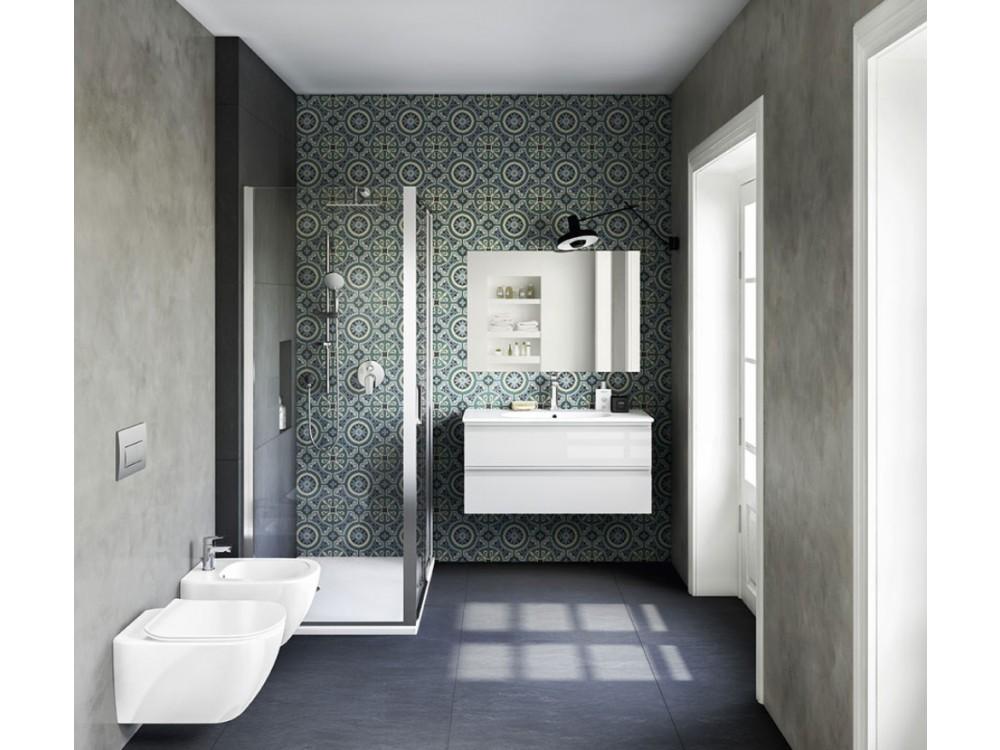 Allestimento completo bagno serie Tesi, sanitari e arredi