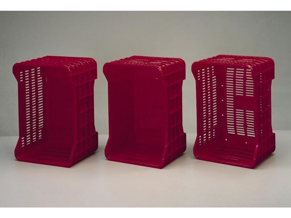 Cassette per ortofrutta, colore rosso, base e pareti piene e/o forate