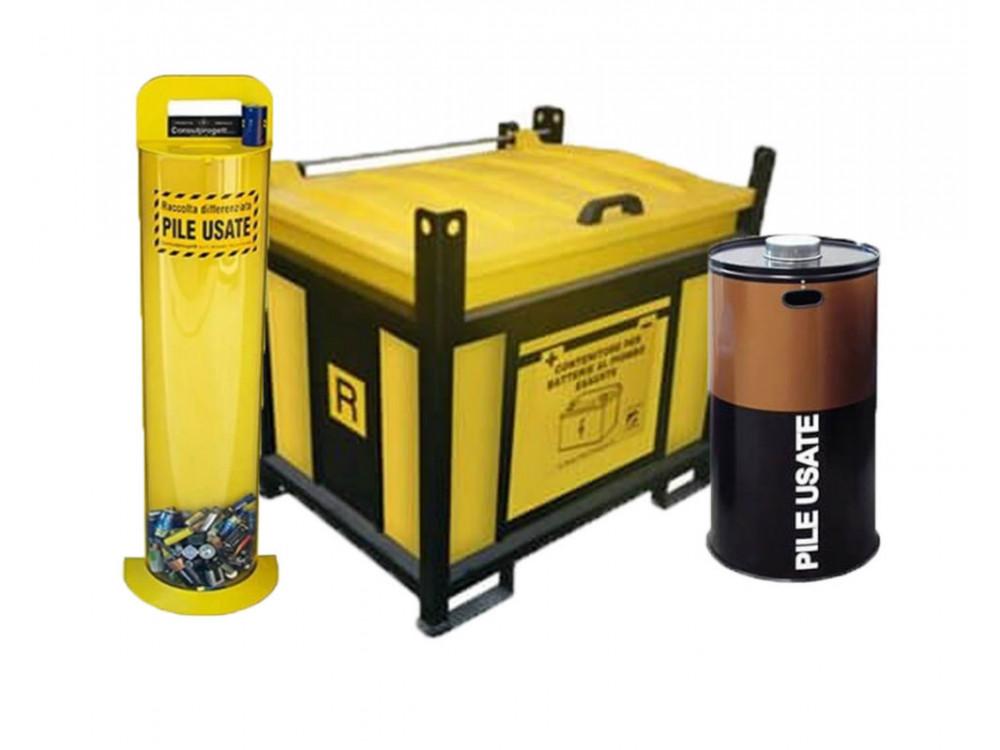 Contenitori in HDPE/acciaio, con telaio chiuso, per batterie esauste