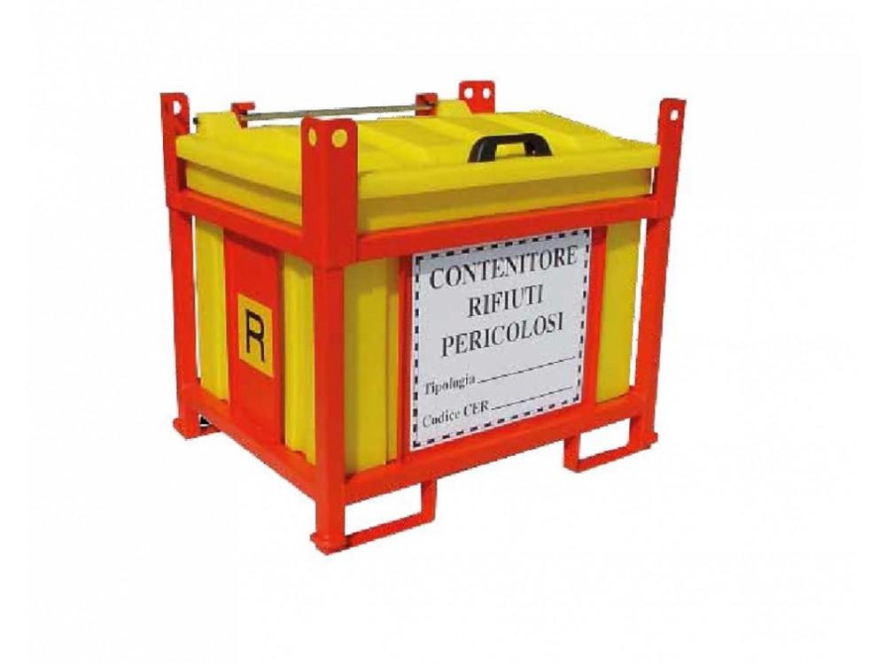 Contenitori in acciaio e HDPE, con telaio aperto, per rifiuti pericolosi